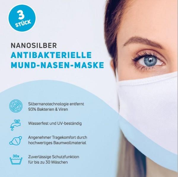 3x Antibakterielle Mund Nasen Maske Damen